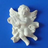 Гипсовый элемент, Ангел лира, 8*6,5*2см