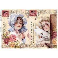 Бумага для декупажа Alizarin 20х30см Винтажные женщины 9012003