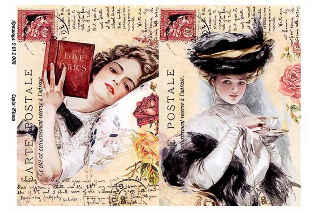 Бумага для декупажа Alizarin 20 х 30 см Винтажные женщины 9012005