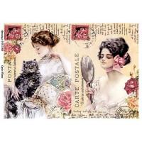 Бумага для декупажа Alizarin 20х30см Винтажные женщины 9012006