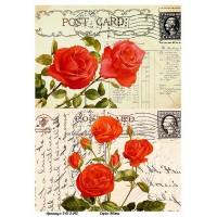 Бумага для декупажа Alizarin 20х30см Винтажные цветы 9013042