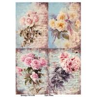 Бумага для декупажа Alizarin 20х30см Винтажные цветы 9013046