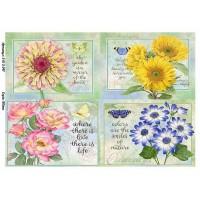 Бумага для декупажа Alizarin 20х30см Винтажные цветы 9013047