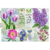 Бумага для декупажа Alizarin 20х30см Винтажные цветы 9013049