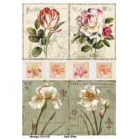 Бумага для декупажа Alizarin 20х30см Винтажные цветы 9013052