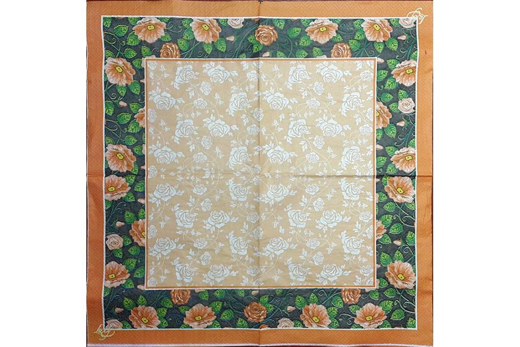 Салфетка для декупажа Цветы и растения 33х33 см 0915