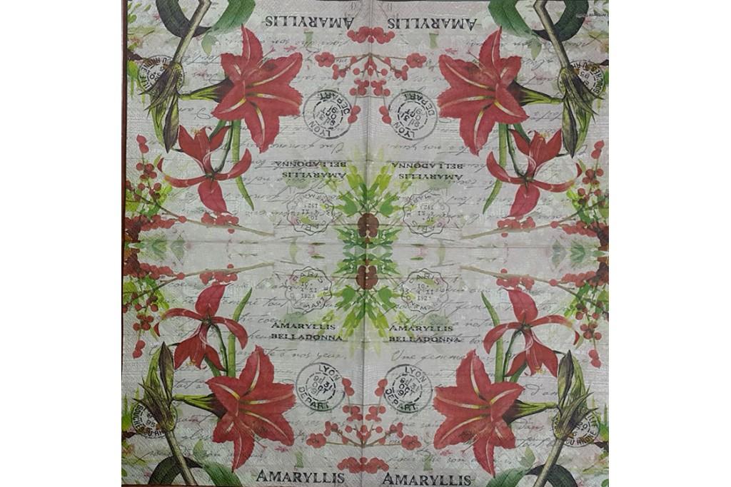Салфетка для декупажа Цветы и растения 33х33 см 0932