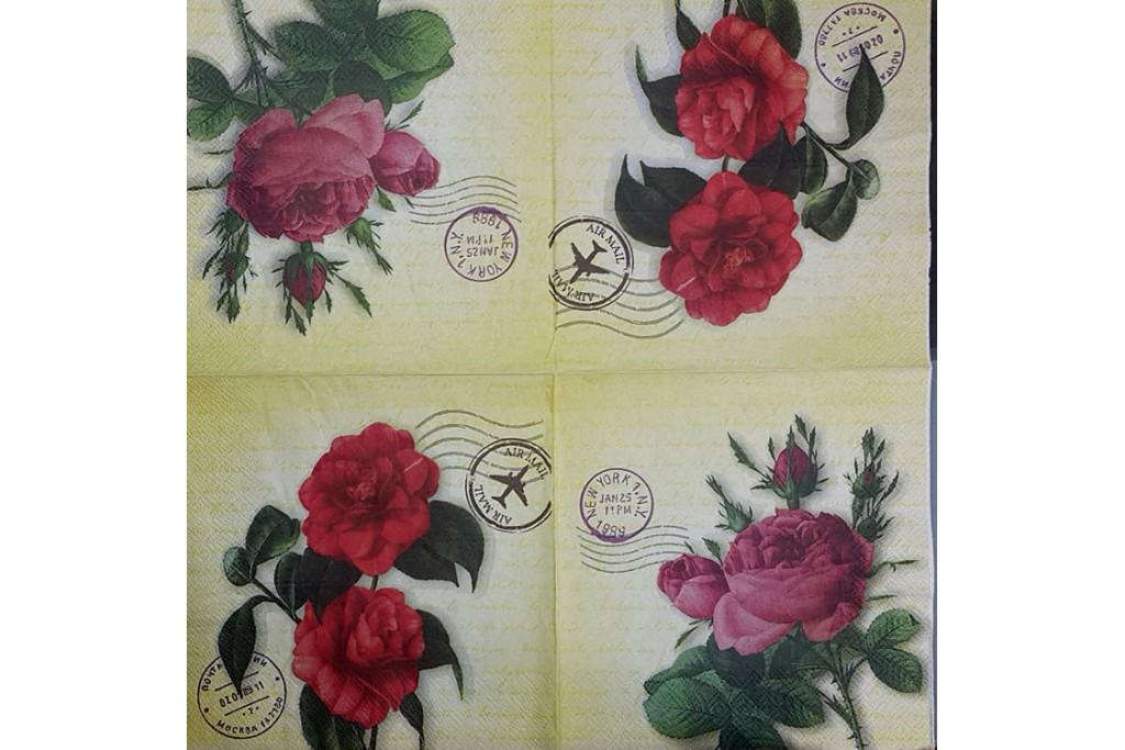 Салфетка для декупажа Цветы и растения 33х33 см 0983