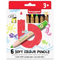 Набор детских цветных карандашей Bruynzeel мягкие 6цв картон