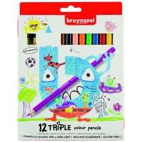 Набор детских цветных карандашей Bruynzeel TRIPLE треугольные 12цв картон