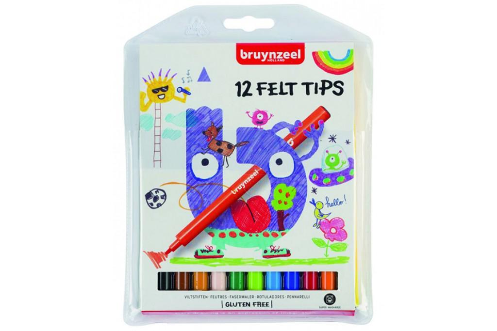 Набор детских фломастеров Bruynzeel 12 цветов картонная коробка