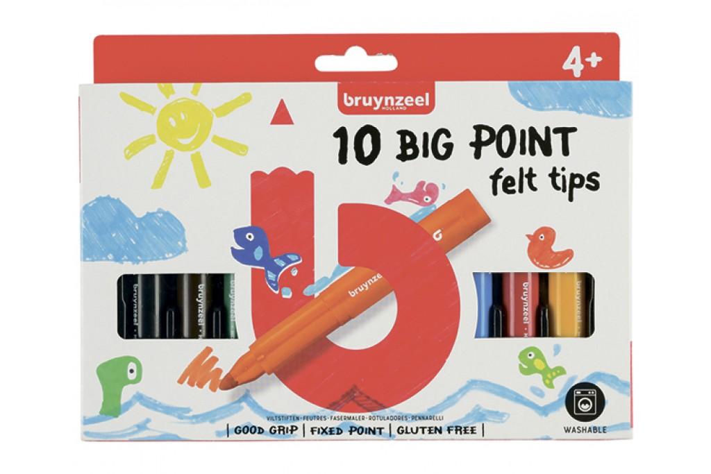 Набор детских фломастеров Bruynzeel BIG POINT толстые короткие 10 цветов картонная коробка