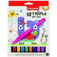 Набор детских фломастеров Bruynzeel TRIPLE FELT 10цв картон
