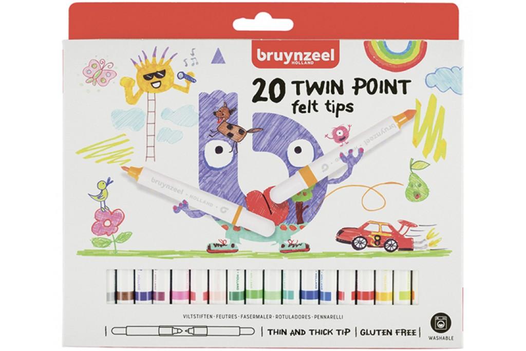 Набор детских фломастеров Bruynzeel TWIN двойные 20 цветов картонная коробка