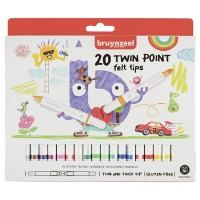 Набор детских фломастеров Bruynzeel TWIN двойные 20цв картон