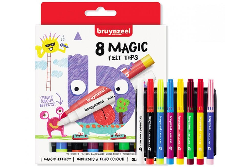 Набор детских фломастеров Bruynzeel MAGIC толстые короткие 8 цветов картонная коробка