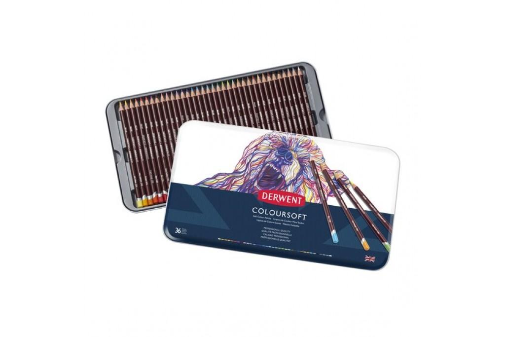 Набор цветных карандашей Derwent Coloursoft 36 цветов металлический пенал