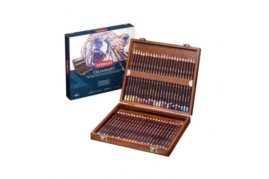 Набор цветных карандашей Derwent Coloursoft 48 цветов деревянный пенал