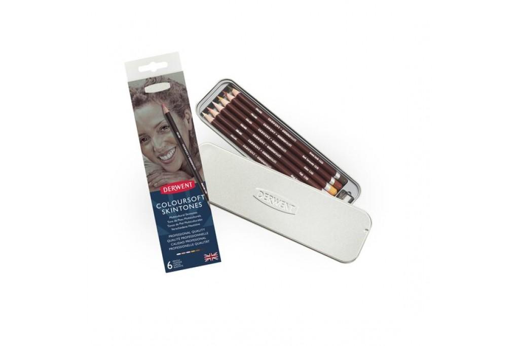 Набор цветных карандашей Derwent Coloursoft Телесные оттенки 6 цветов металлический пенал