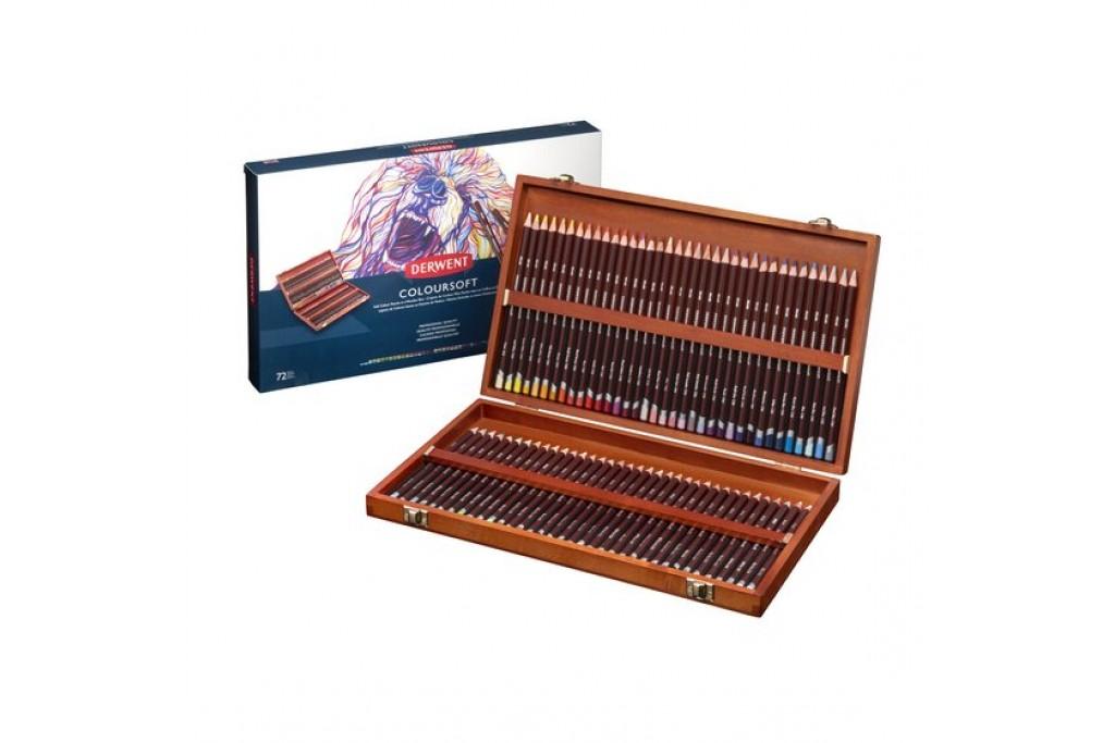 Набор цветных карандашей Derwent Coloursoft 72 цвета деревянный пенал