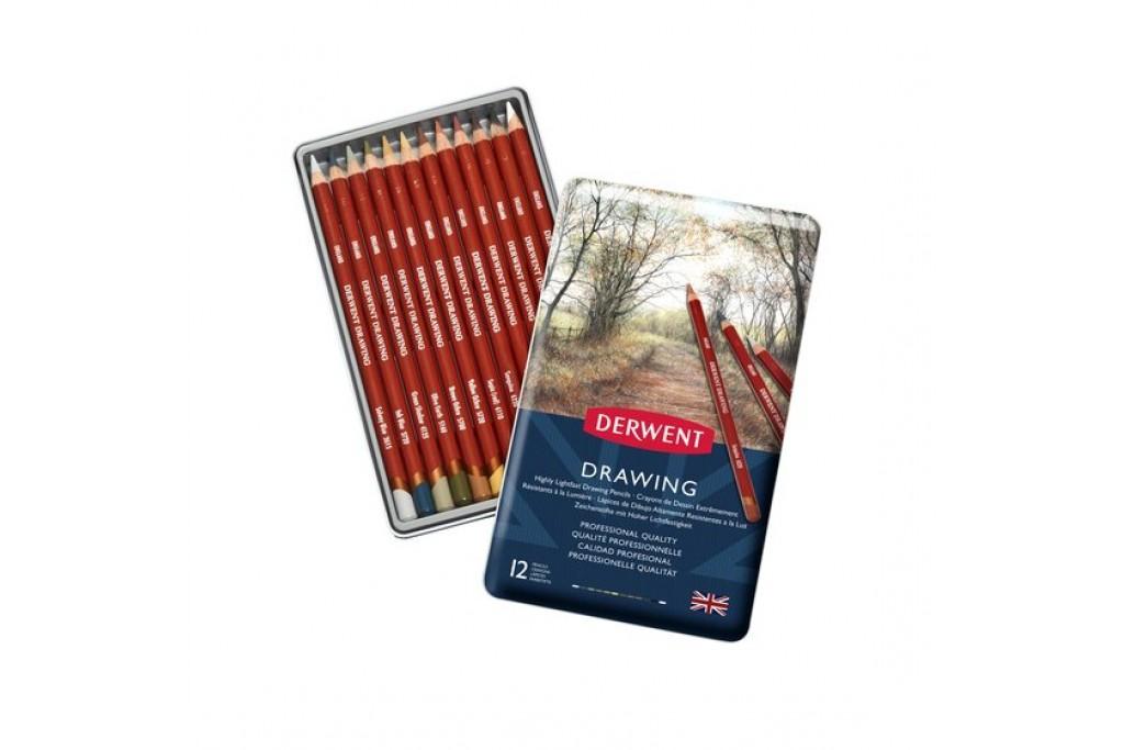 Набор восково маслянных карандашей Derwent Drawing 12 цветов металлический пенал