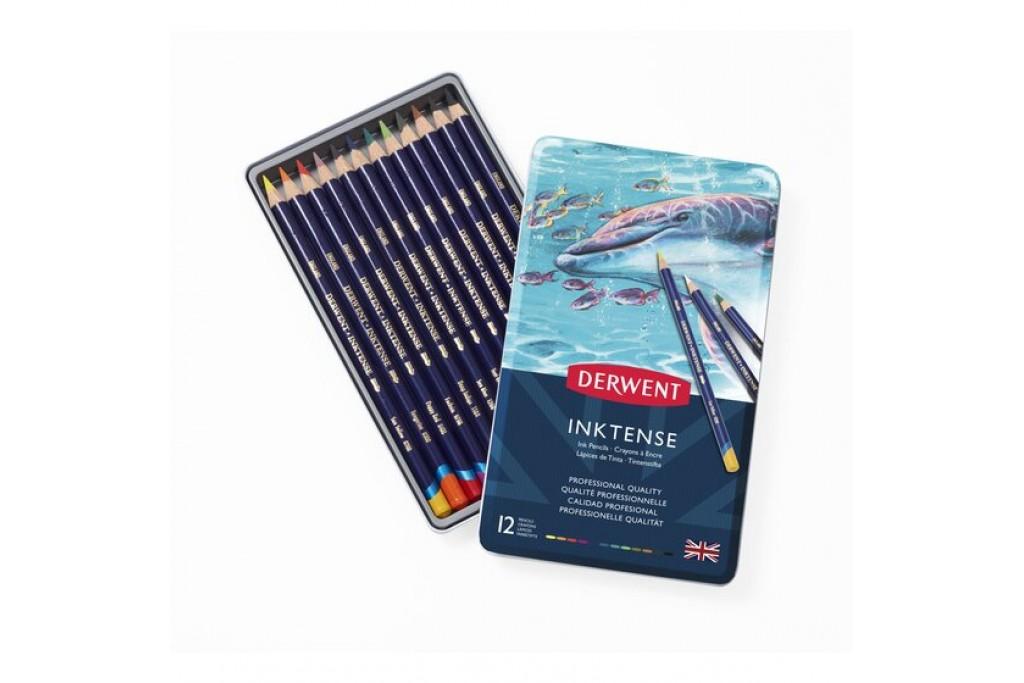 Набор акварельных карандашей Derwent Inktense 12 цветов металлический пенал