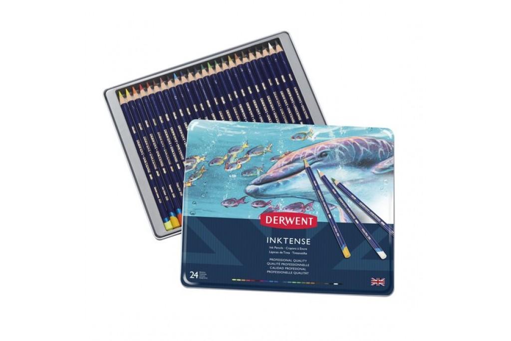 Набор акварельных карандашей Derwent Inktense 24 цвета металлический пенал