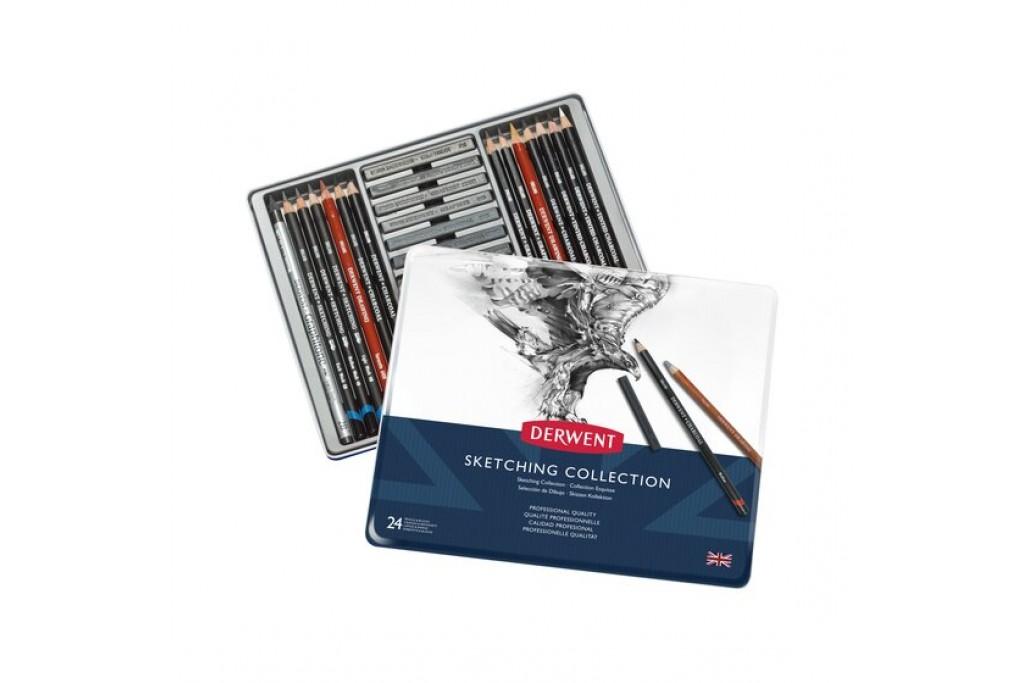 Набор для графики Derwent Sketching Collection 24 предмета металлический пенал
