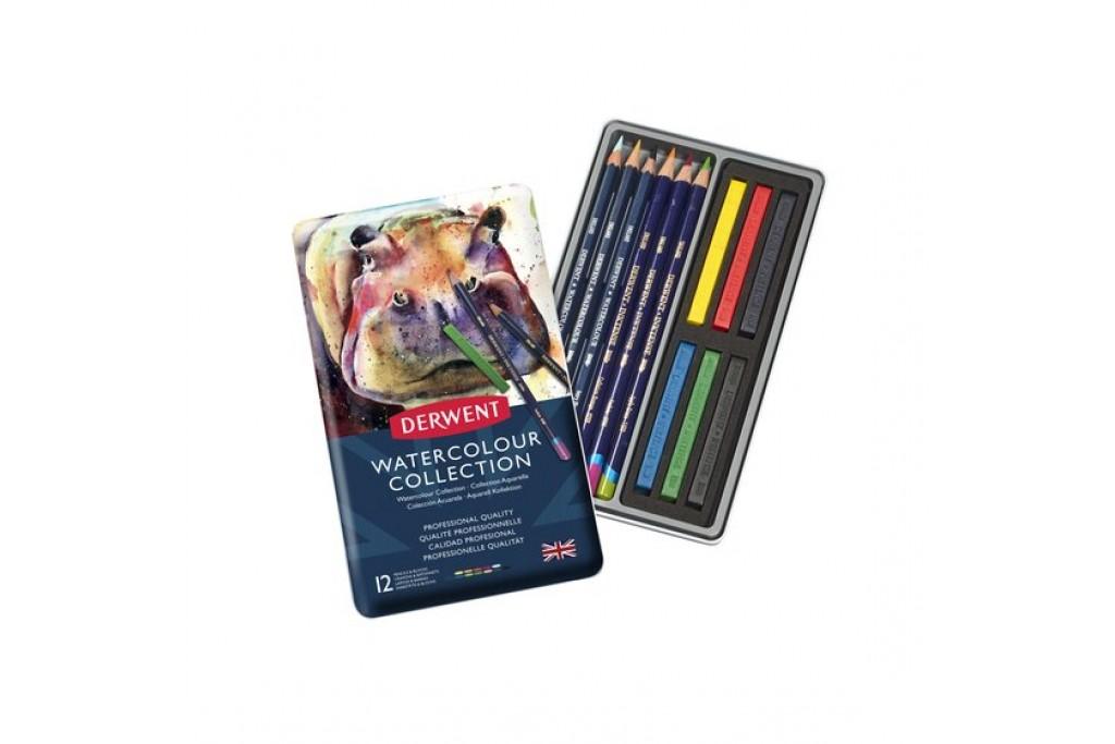 Набор акварельных карандашей Derwent WaterСolour Collection 12 предметов металлический пенал