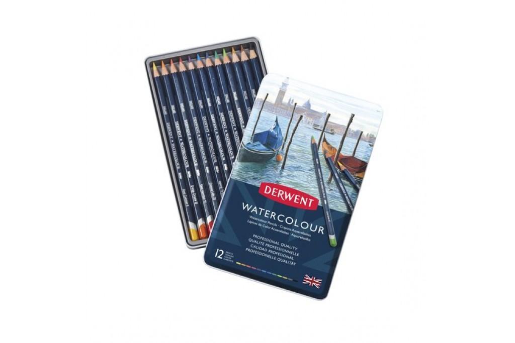 Набор акварельных карандашей Derwent WaterСolour 12 цветов металлический пенал