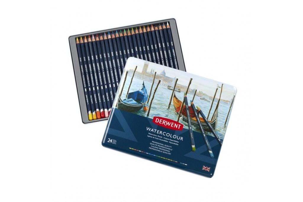Набор акварельных карандашей Derwent WaterСolour 24 цвета металлический пенал