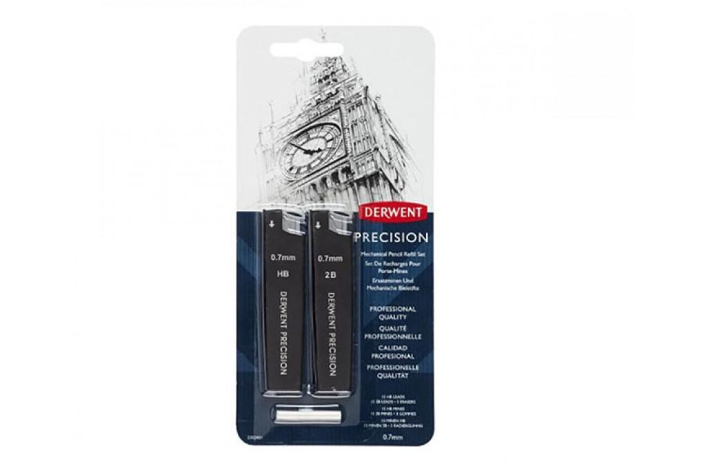 Грифели для механических карандашей Derwent 0.7 мм HB + 2B по 15 шт + ластик 3 шт