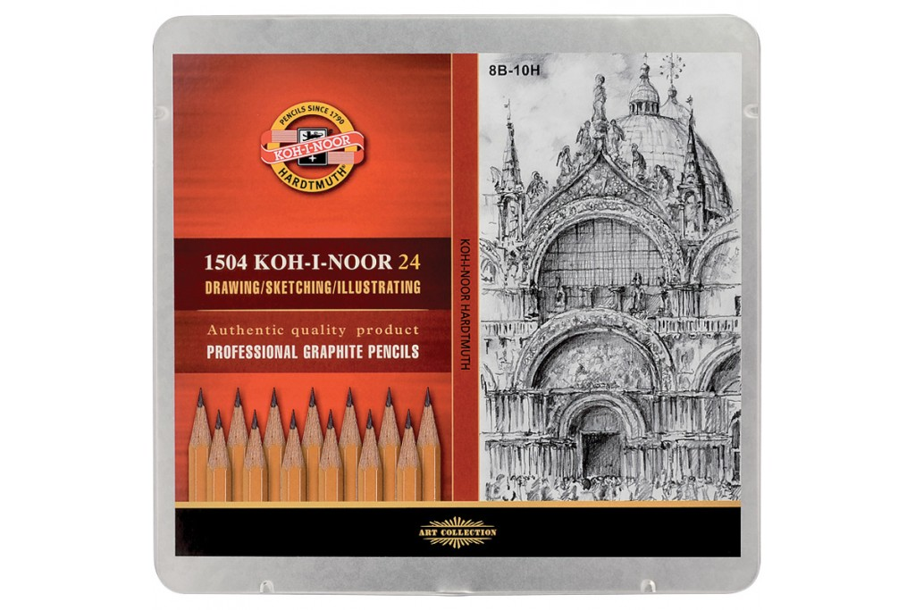 Набор графитных карандашей Koh-i-Noor 8В-10Н 24 шт металлический пенал