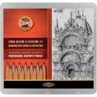 Набор графитных карандашей Koh-i-Noor 8В-10Н 24 шт метал