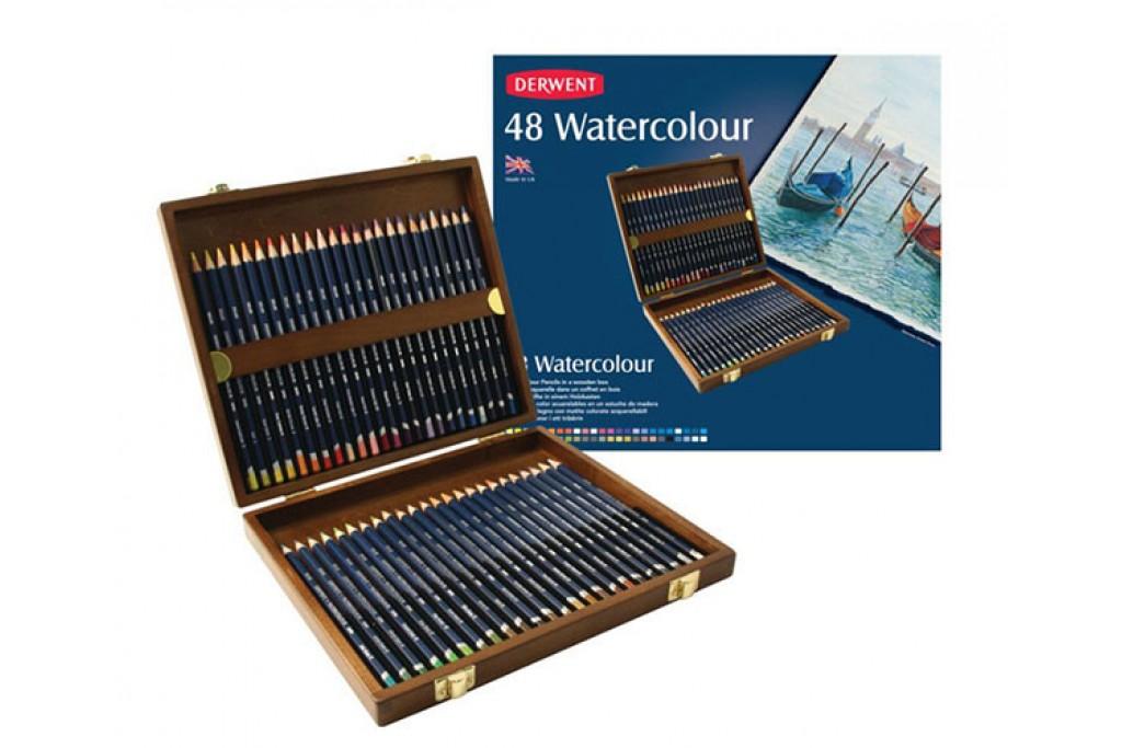 Набор акварельных карандашей Derwent WaterСolour 48 цветов деревянный пенал