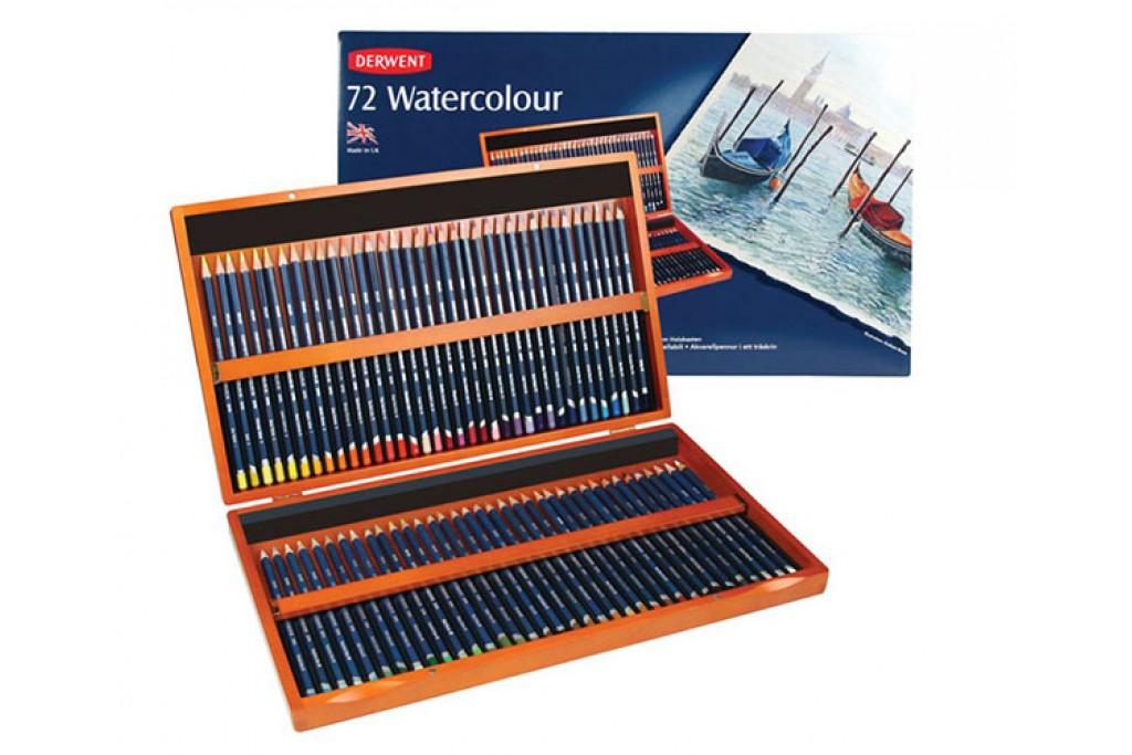 Набор акварельных карандашей Derwent WaterСolour 72 цвета деревянный пенал