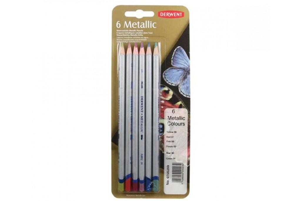 Набор карандашей для рисунка Derwent Coloured Metallic 6 цветов металлический пенал
