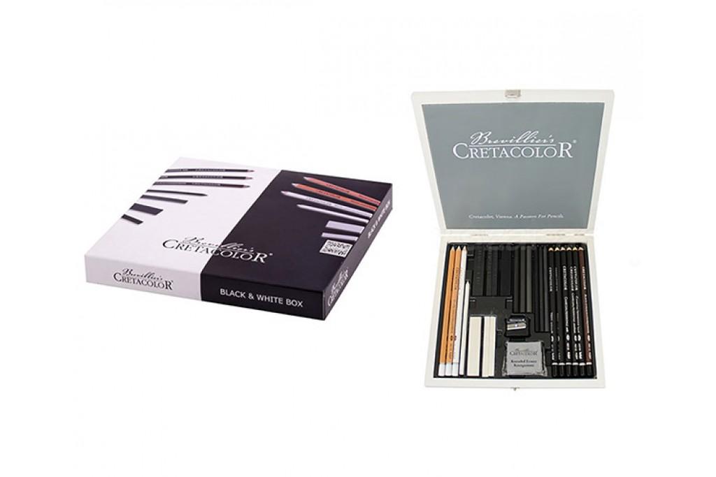 Набор для графики Cretacolor Black White 25 предметов деревянный пенал