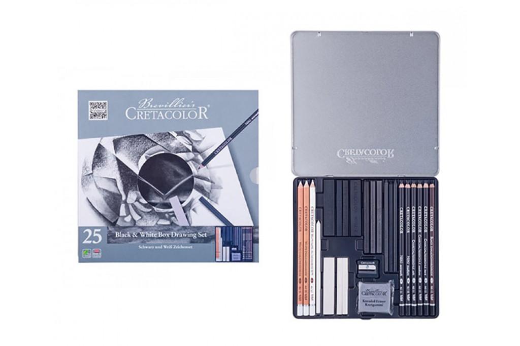 Набор для графики Cretacolor Black White 25 предметов металлический пенал
