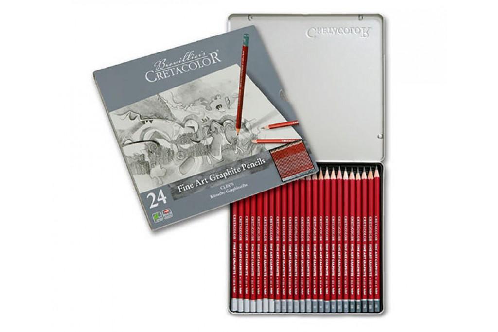Набор графитных карандашей Cretacolor Cleos 24 шт металлический пенал