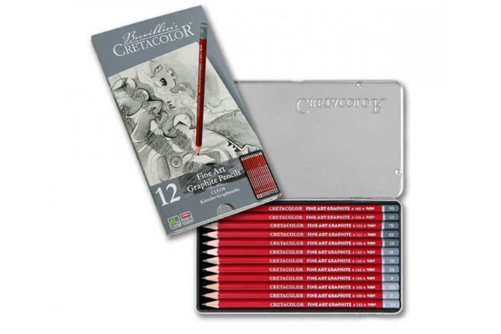 Набор графитных карандашей Cretacolor Cleos 12 шт металлический пенал