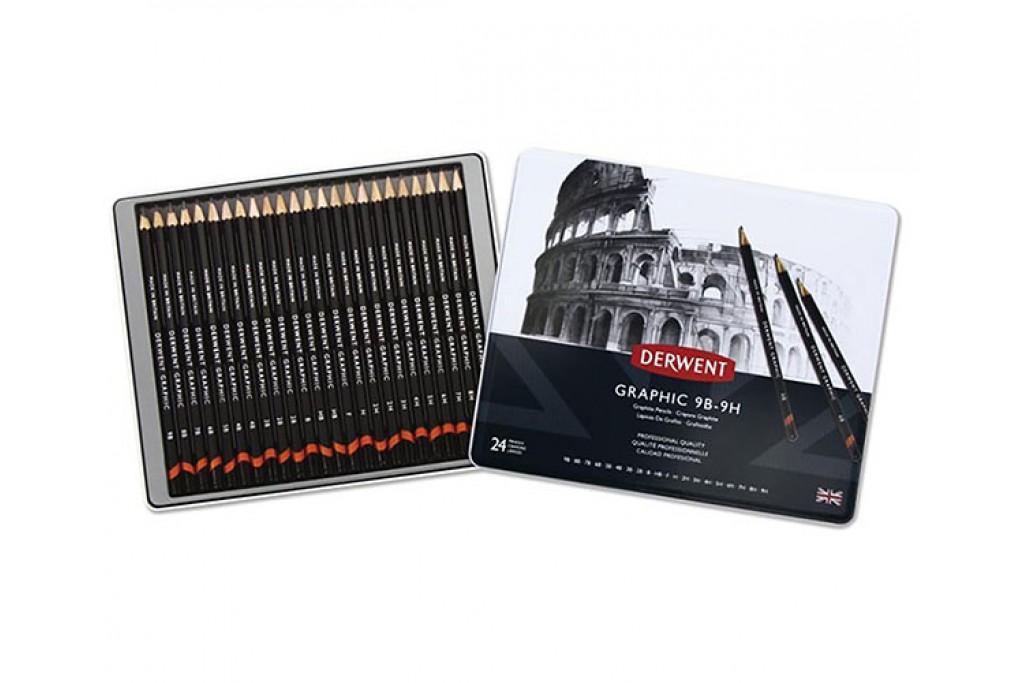 Набор графитных карандашей Derwent Graphic Designer 24 шт металлический пенал