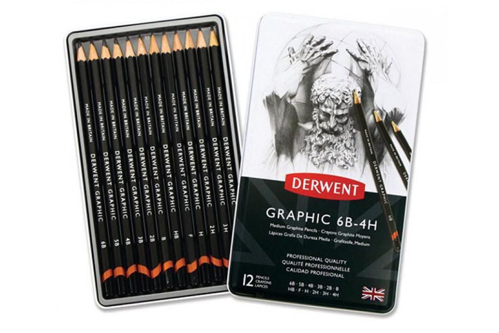 Набор графитных карандашей Derwent Graphic Designer Medium 6В-4Н 12 шт металлический пенал