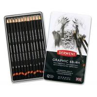 Набор графитных карандашей 12шт (6В-4Н), метал, Graphic Designer Medium, Derwent