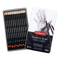 Набор графитных карандашей 12шт (B-9H), метал, Graphic Sketching Hard, Derwent