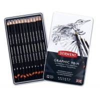 Набор графитных карандашей 12шт (9B-H), метал, Graphic Sketching Soft, Derwent
