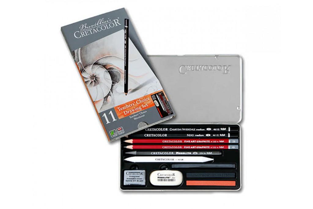 Набор карандашей для рисунка Cretacolor Teacher's choice 11 предметов металлический пенал