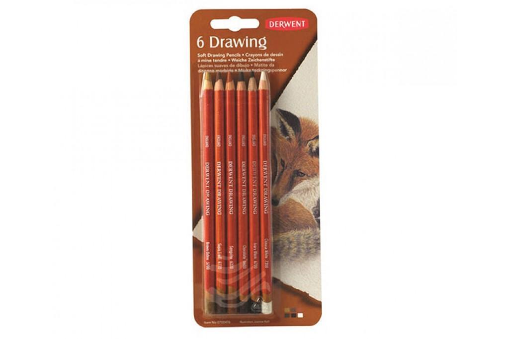 Набор восково маслянных карандашей Derwent Drawing 6 цветов блистер
