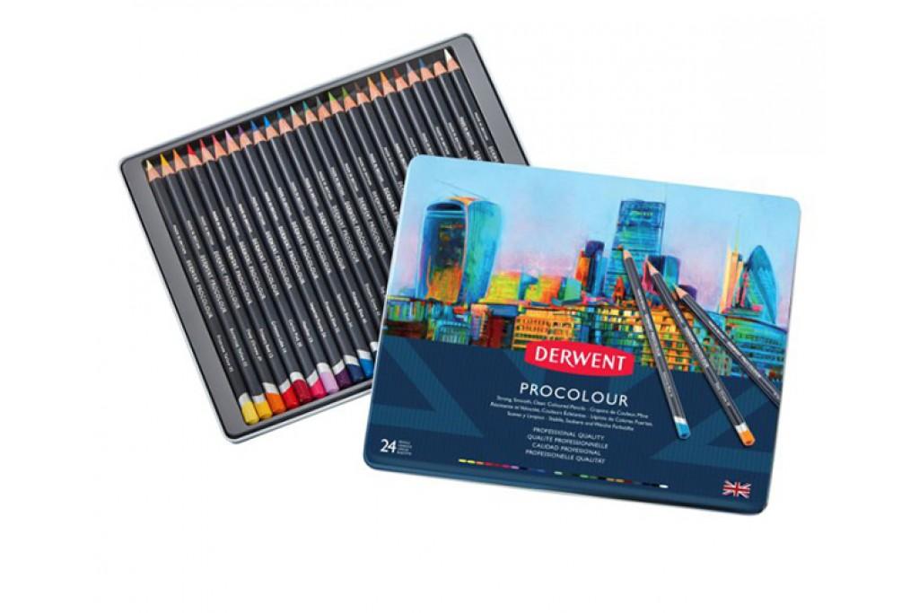 Набор цветных карандашей Derwent Procolour 24 цвета металлический пенал