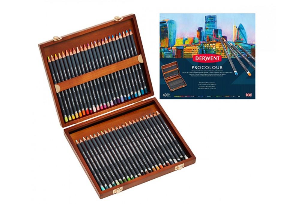 Набор цветных карандашей Derwent Procolour 48 цветов деревянный пенал